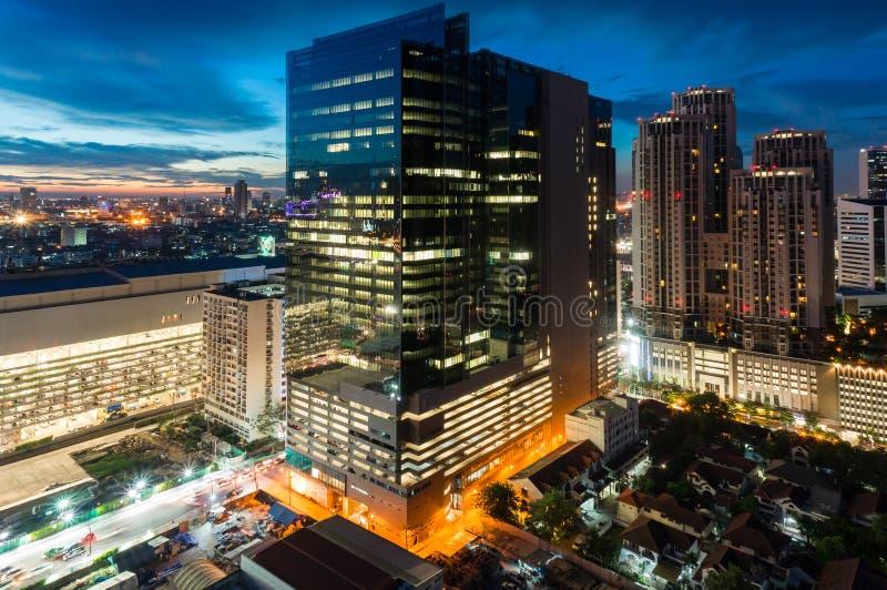 Bangkok miasta nocy widok, nowy CBD obraz stock