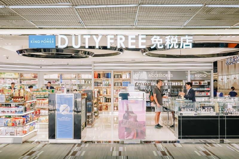 Bangkok NOV 22,2018: Tienda con franquicia del poder del rey en Don Mueang Airport, Bangkok de Tailandia, se escribe 'con franqui imagen de archivo libre de regalías