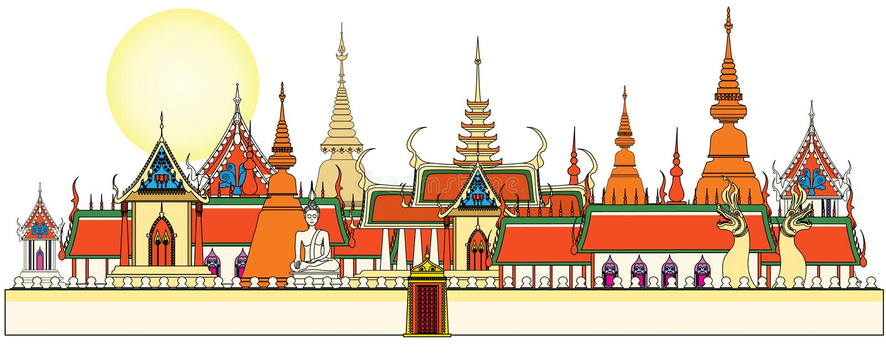 Bangkok pałac królewski ilustracji