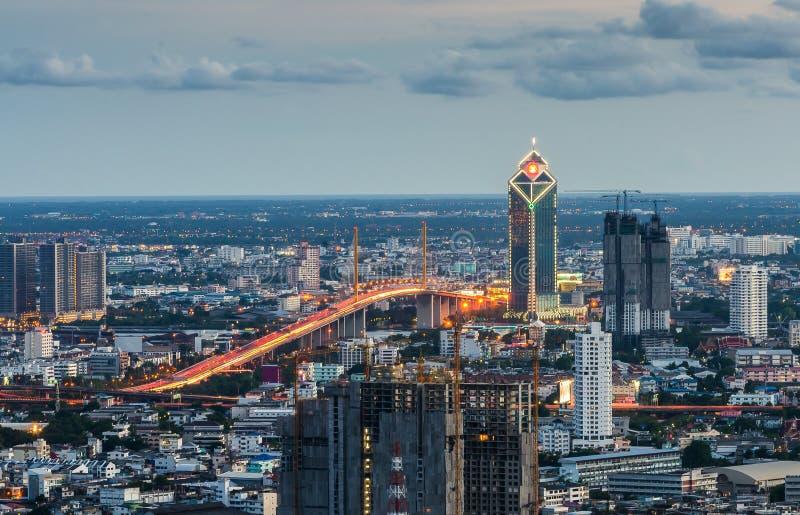 Bangkok pejzaż miejski z Ramy IX mostem obrazy royalty free