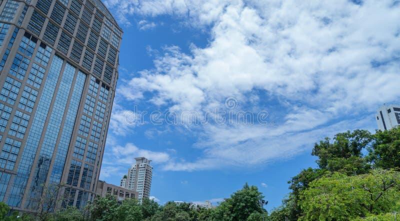 Bangkok Sky Scrapers in the park. Bangkok Sky Scrapers in the Sukhumvit park royalty free stock photo