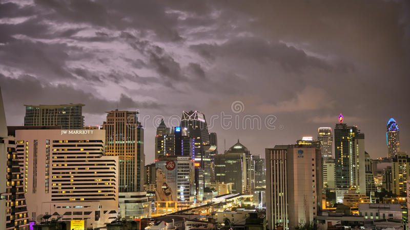Download Bangkok Skyline Hit By A Storm At Night Editorial Editorial Photography - Image of rain, hotel: 26647287