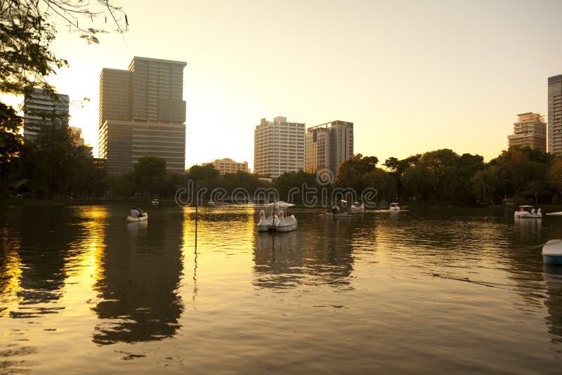 Lumpini Park at the sunset ,Thailand royalty free stock photos