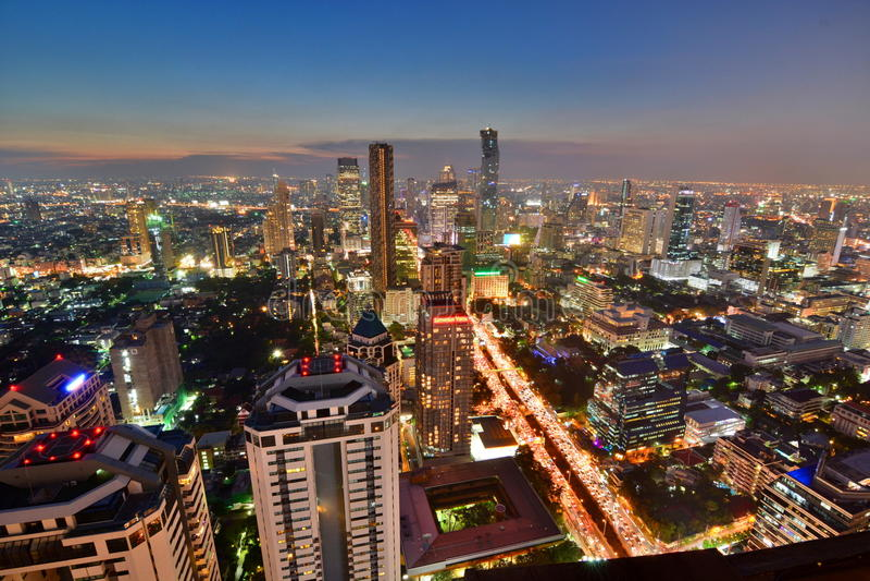 Bangkok skyline at sunset. Thailand royalty free stock photo