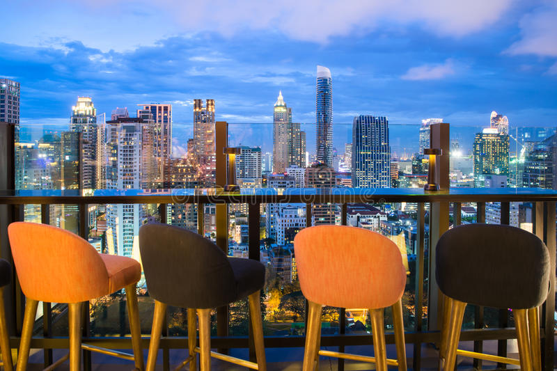 Bangkok skyline view point from rooftop bar in Bangkok, Thailand. Beautiful rooftop bar in Bangkok royalty free stock image