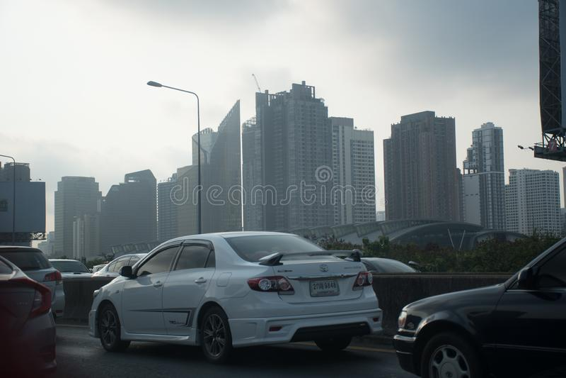 Bangkok skyscrapers in smog stock photos