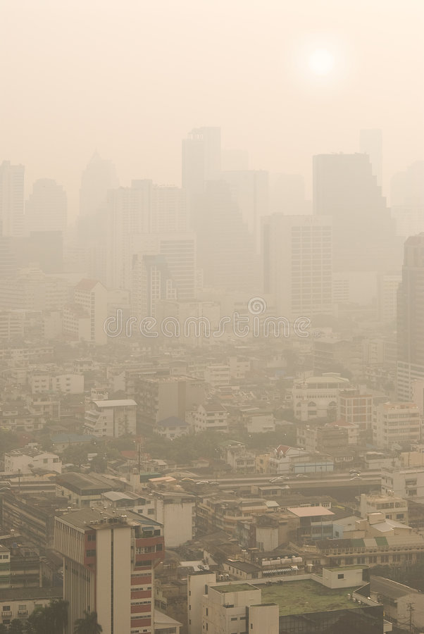 Bangkok in smog royalty free stock photos