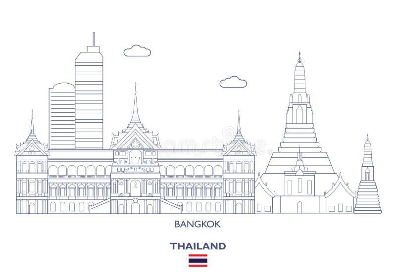 Bangkok stadshorisont, Thailand vektor illustrationer