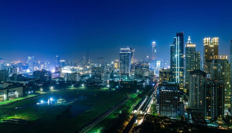 Bangkok-Stadtnachtansicht stockfotos