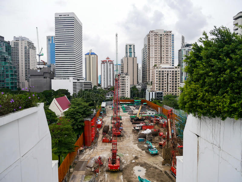 Bangkok, Tailandia - 6 agosto 2017: Un cantiere di buil immagine stock
