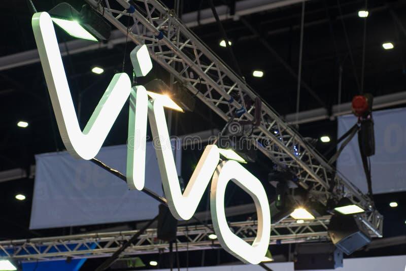 Bangkok, Tailandia - 2 de junio de 2019: El logotipo de Vivo en el Thailand Mobile Expo 2019, Vivo es uno del líder del fabricant fotos de archivo libres de regalías