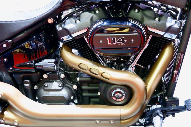 Bangkok, Tailandia 30 de marzo de 2019: La motocicleta de Harley-Davidson del detalle-UNo de la bici del motor fue mostrada en el imagenes de archivo