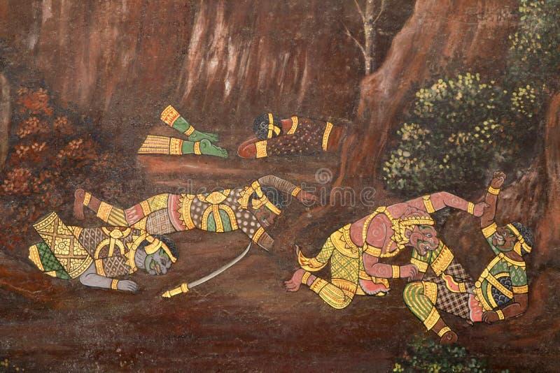 Bangkok, Tailandia - 18 de mayo de 2019: Las pinturas murales de Ramakian Ramayana a lo largo de las galer?as del templo de Emera imagen de archivo