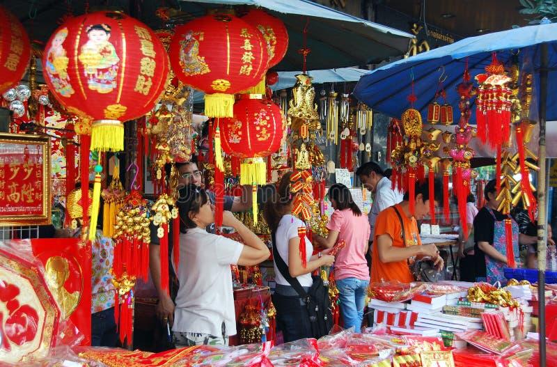 Bangkok, Tailandia: Decoraciones chinas del Año Nuevo
