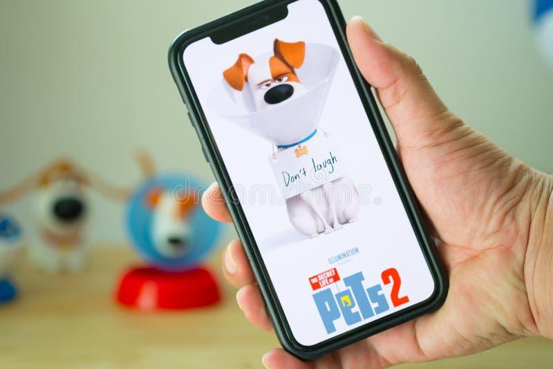 Bangkok, Tailandia - 2 giugno 2019: La durata segreta del film degli animali domestici 2 è un film della commedia dell'americano  fotografie stock