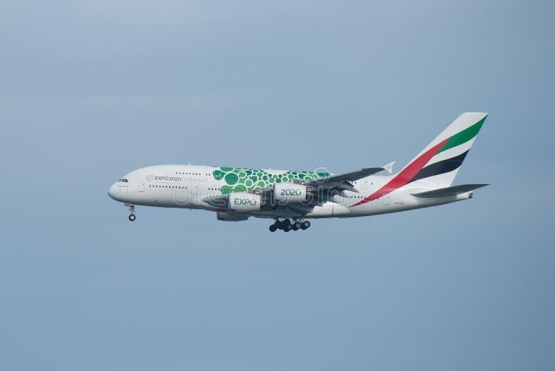 Bangkok, Tailandia, il 12 agosto 2018: Registro degli emirati No A6-EEZ A380- immagine stock libera da diritti