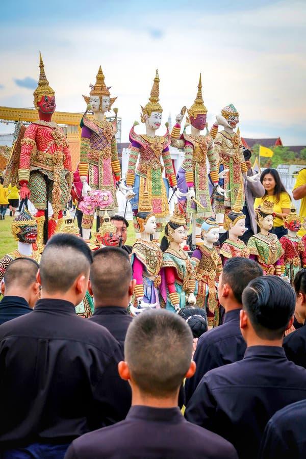 BANGKOK, TAILANDIA – 28 MAGGIO 2019: Le bambole tailandesi tradizionali del burattino di Joe Louis hanno mostrato a Sanam Laung,  fotografia stock