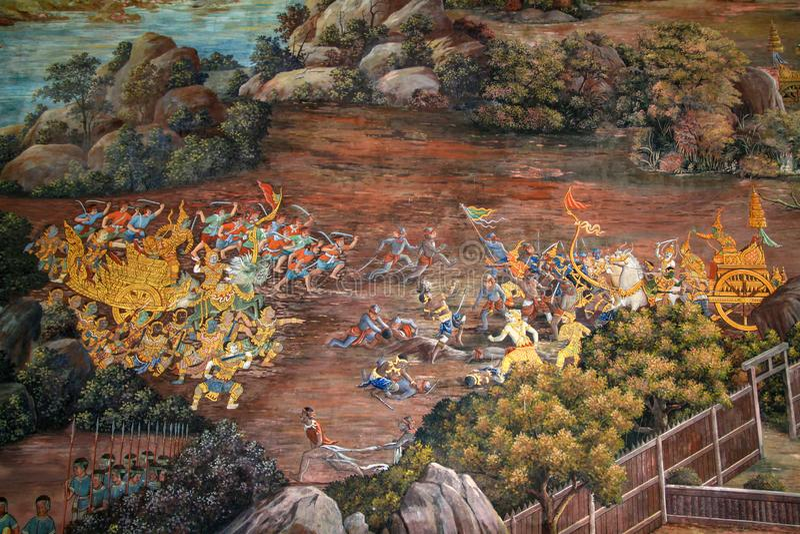 Bangkok, Tailandia-octubre 8,2010: La pintura al óleo en kaew del phra del wat es la hermosa de artista tailandés en Tailandia imagenes de archivo