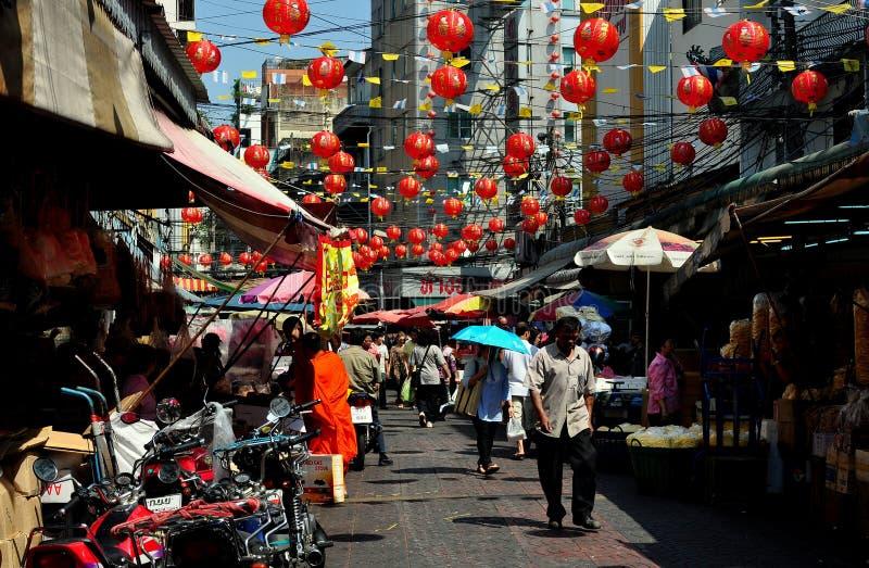 Bangkok, Tailandia: Scena della via di Chinatown fotografie stock libere da diritti