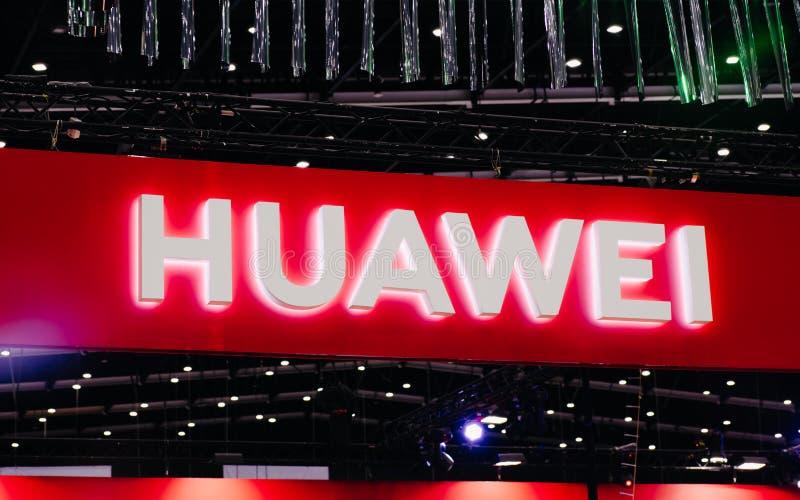 Bangkok Tajlandia, Czerwiec, - 02, 2019: Huawei logo w thailand mobile expo 2019, Huawei jest chińskim firmą Huawei był zakazuję  obraz stock