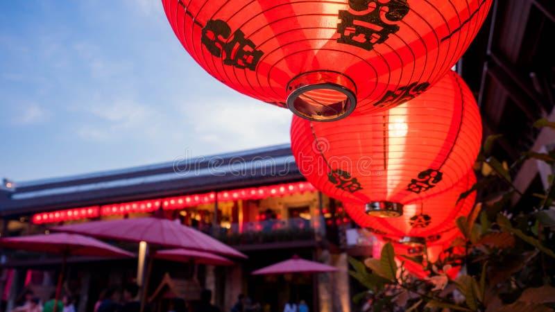 BANGKOK TAJLANDIA, GRUDZIEŃ, - 30, 2017: Chiński lampion przy dziedzictwo kulturowe turystyką, architektura przy LHONG 1919 w Ban zdjęcie stock