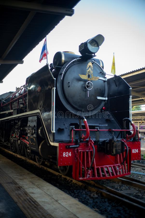 Bangkok, Tajlandia: Grudzień 5, 2018 - zbliżenie rocznika kontrpary pociąg fotografia stock