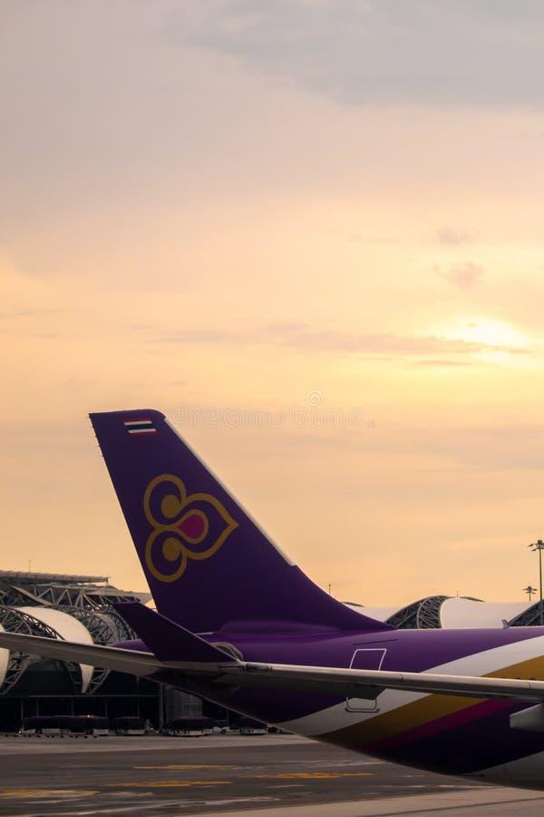 BANGKOK TAJLANDIA, KWIECIEŃ, - 17, 2018: Tajlandzki drogi oddechowe ` s Beoing 747 fotografia stock