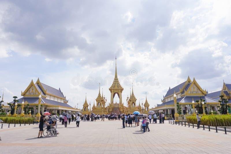 Bangkok Tajlandia, Listopad, - 10, 2017: Królewska Crematorium wystawa królewiątko Bhumibol Adulyadej przy SanamLuang obraz stock