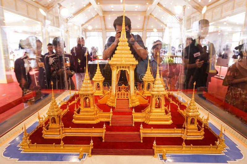 Bangkok Tajlandia, Listopad, - 10, 2017: Królewska Crematorium wystawa królewiątko Bhumibol Adulyadej przy SanamLuang zdjęcia stock