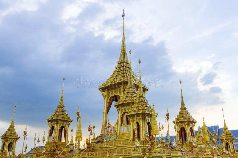 Bangkok, Tajlandia: Listopad 29, 2017 Królewski Crematorium dla HM królewiątko Bhumibol Adulyadej przy Sanum Luang zdjęcie stock