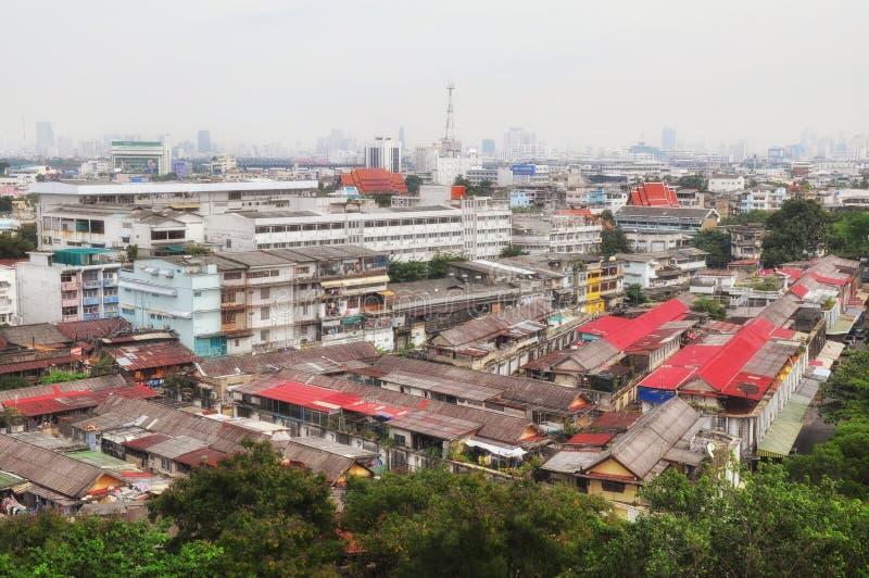 BANGKOK TAJLANDIA, Listopad 2009 -: Ptasiego oka widok Bangkok miasta stary teren na Listopadzie 22, 2009 w BANGKOK, TAJLANDIA zdjęcia stock