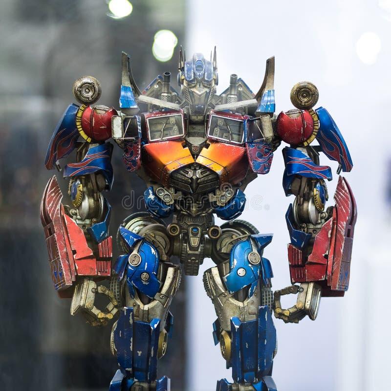 Bangkok Tajlandia, Maj, - 6, 2017: portreta strzał transformatoru Optimus prima na pokazie przy Środkowym światem, Bangkok Tajlan zdjęcia royalty free