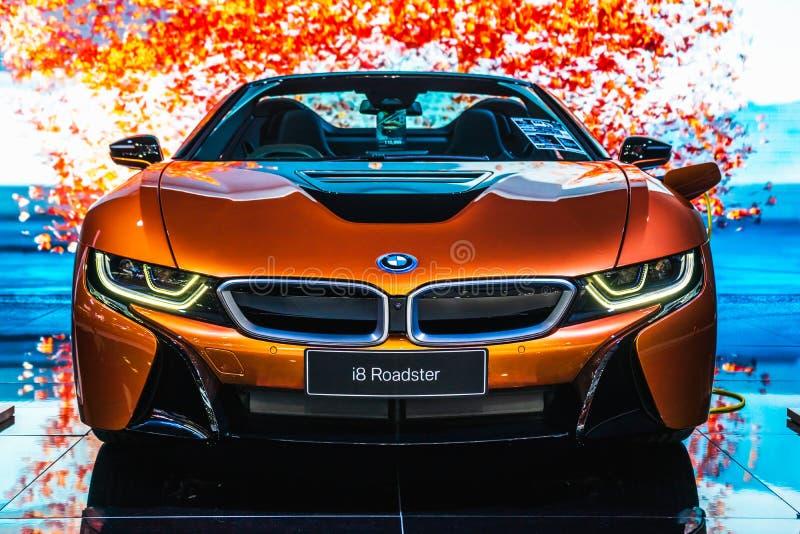 Bangkok Tajlandia, Marzec, - 31, 2019: BMW i8 terenówka jest na pokazie przy BANGKOK MIĘDZYNARODOWYM MOTOROWYM przedstawieniem  zdjęcie stock