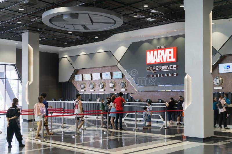 Bangkok Tajlandia, Sierpień, - 11, 2018 - Biletowy kontuar Inside zdjęcie stock