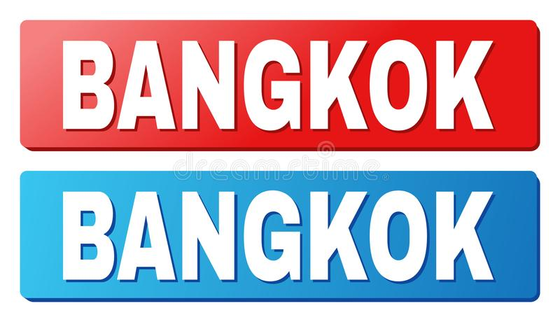 BANGKOK Caption on Blue and Red Rectangle Buttons. BANGKOK text on rounded rectangle buttons. Designed with white caption with shadow and blue and red button royalty free illustration