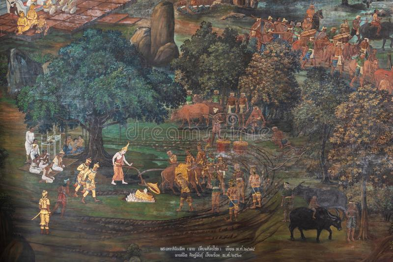 Bangkok, Thaïlande - 17 août 2016 : Peinture murale thaïlandaise de Ramayana Ramakian chez Emerald Buddha Temple, le palais grand photo libre de droits