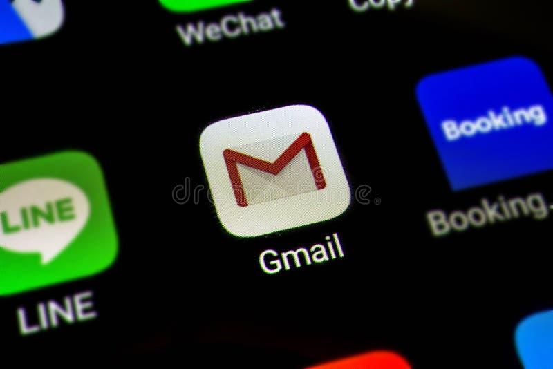Bangkok, Thaïlande - 15 juin 2019 : Macro photo d'icône d'application de Google Gmail sur un écran de smartphone Gmail est Intern images libres de droits