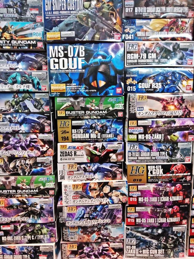 Bangkok/Thaïlande - 31 mars 2018 : Groupes du chiffre BO de Gundam images libres de droits