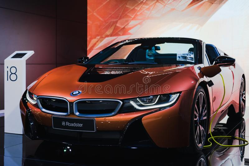 Bangkok, Thaïlande - 31 mars 2019 : Le roadster de BMW i8 est sur l'affichage au SALON de l'AUTOMOBILE INTERNATIONAL de BANGKOK  photo stock