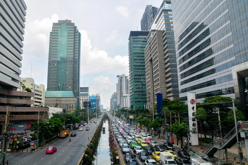 Bangkok, Thaïlande - 25 octobre 2018 : Bureau de construction de Sathorn photo stock