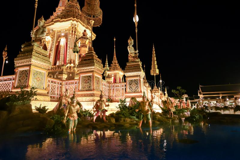 Bangkok, Thaïlande - 20 octobre 2017 la création royale Cereony image stock