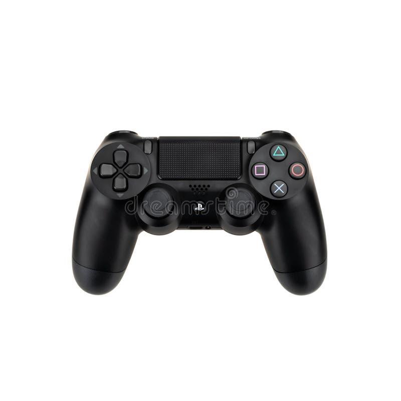 Bangkok, Thaïlande - 30 septembre 2018 : Contrôleur de radio du ` s DualShock 4 de Sony Playstation 4 d'isolement sur le fond bla photo libre de droits