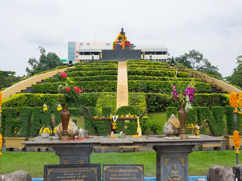 Thai spiritual prayer area for King Ramkhamhaeng, is iconic landmark at Ramkhamhaeng University. BANGKOK, THAILAND. – On July 26, 2018 - Thai stock photo