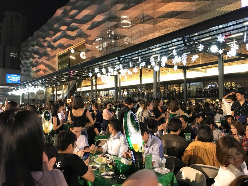 BANGKOK, THAILAND – DECEMBER 4, 2018: beer garden festival at the street stock image