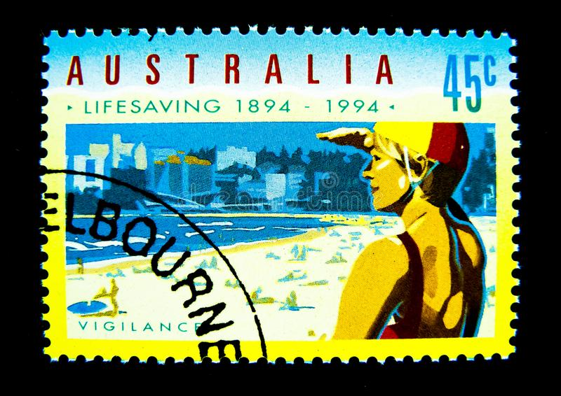 A stamp printed in Australia shows an image of lifesaving 1894-1994 on value at 45 cent. vector illustration