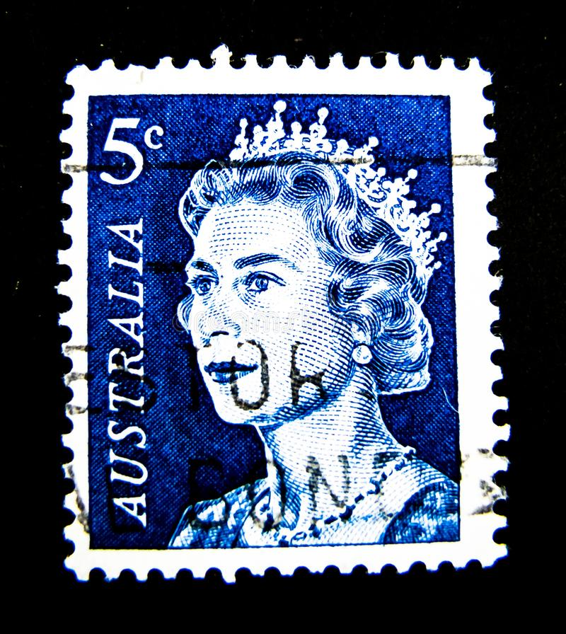 A stamp printed in Australia shows an image of Queen Elizabeth II in blue color on value at 5 cent. BANGKOK, THAILAND. – On May 28, 2018 - A stamp stock image