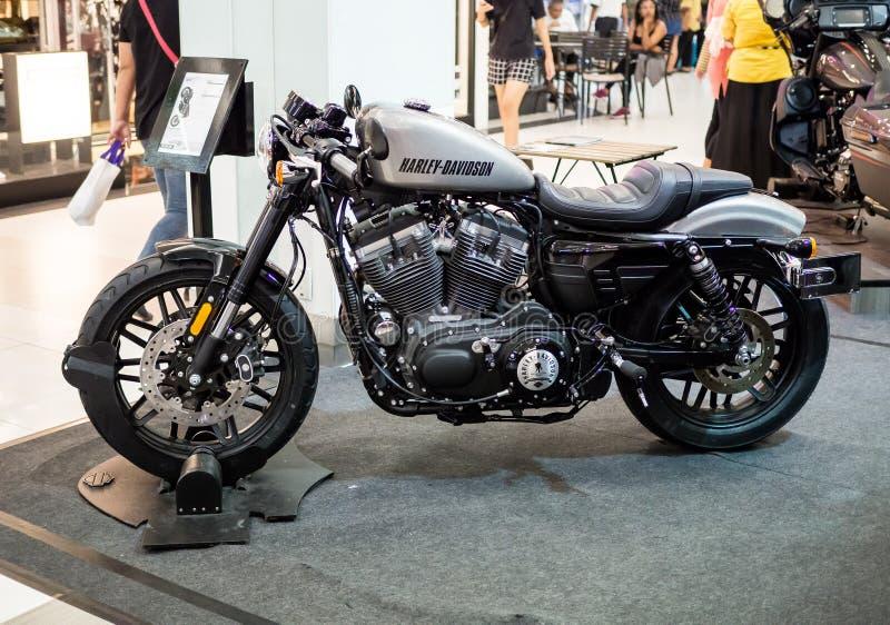 Motorcycle Harley Davidson roadster displaying at Motor Show. royalty free stock photos
