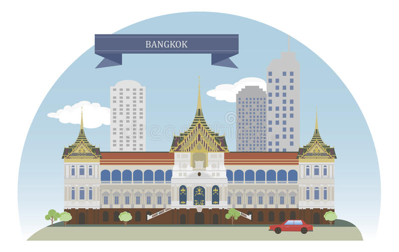 Bangkok Thailand vektor illustrationer