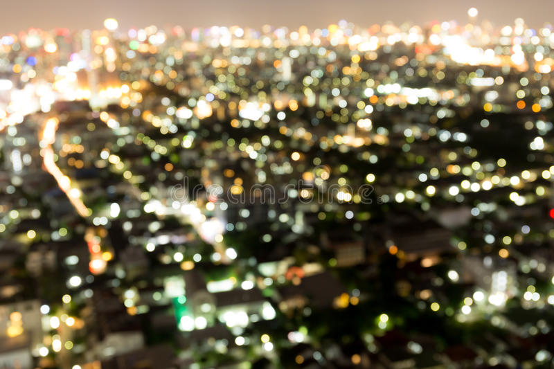 Bangkok Thailand abstract urban night light bokeh defocused stock photography