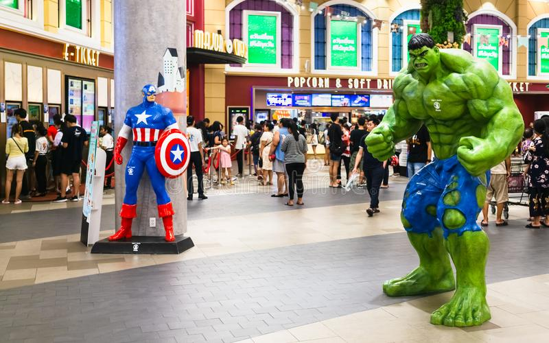 Bangkok, Thailand - Apr 24, 2019: Avengers 4 Endgame character model Hulk and Captain America in front of the Theatre with People stock images